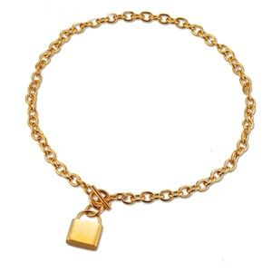 Love Lock Locket Link Curb Chain Necklace Pendant